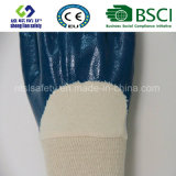 Голубым покрынная нитрилом перчатка безопасности блокировки
