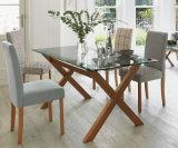 Tableau dinant extensible en bois de salle à manger de meubles de pattes neuves de fer (NK-DTB053)
