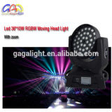 36X18W 6in 1 do zoom UV do diodo emissor de luz de RGBWA luz principal movente