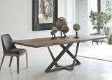 Tabela de jantar telescópica de madeira dos pés novos do ferro da mobília da sala de jantar (NK-DTB053)
