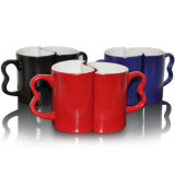Taza personalizada de Cearmic de los pares 11oz con la taza de café mágica del color negro para el amor