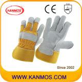 Gelbe volle Palmen-industrielle Sicherheits-Rindleder-aufgeteiltes Leder-Arbeits-Handschuhe (110091)