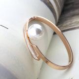 Accesorios mujeres Rose de la joyería brazalete de perlas de oro del acero inoxidable del encanto