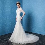 2017本の半分の袖のレースの人魚の方法長い花嫁のウェディングドレス