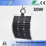 painel solar flexível do silicone Monocrystalline de 30W 12V