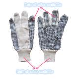 поставленная точки PVC перчатка хлопка сверла 8+10oz работая Glove-2203
