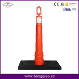 Красная и белая пластичная предупреждающий доска с черным резиновый основанием