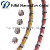 O fio plástico aglomerado do diamante dos grânulos do diamante viu perfilando a laje da circular do granito