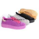 Самые лучшие ботинки замши женщин надувательства/вскользь ботинки (SNC-45047)