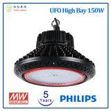 5 anos de luz elevada do diodo emissor de luz do louro do UFO da garantia 150W com o excitador do diodo emissor de luz da microplaqueta e do Meanwell do diodo emissor de luz da Philips