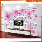 flor rosada 3D y pintura al óleo blanca de la dimensión de una variable del labio