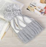 털실 자동 고사포를 가진 선전용 뜨개질을 한 아크릴 베레모 모자 모자