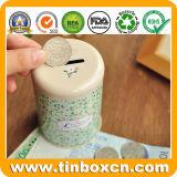 저축 돈 상자를 위한 둥근 금속 주석 동전 은행