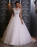 Robe de mariage sans manche de robe de bille de longueur d'étage de collet d'épuisette de cru