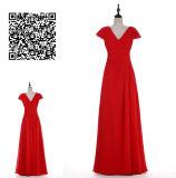 ルーシュで飾られるのAラインかV Neck Full-Length Chiffon王女のプロムの服