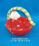 Cestino di ceramica dipinto a mano con il pupazzo di neve per la decorazione di natale