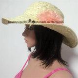 100% del sombrero de paja, estilo de la manera de señora con las flores de la decoración