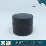 30ml de amberKruik van de Room van het Glas van Schoonheidsmiddelen met de Deksels van het Aluminium