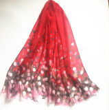 Les points rouges de solides solubles ont estampé Madame Scarf en polyester 100% (HW04)