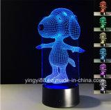 Luz de calidad superior del vector 3D, luz de acrílico de la noche, decoración casera de acrílico 3D