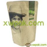 El papel de Brown Kraft se levanta la bolsa con el sello superior de la válvula y de la cremallera