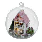 Dollhouse de madera miniatura del juguete de los cabritos del arte DIY con la luz