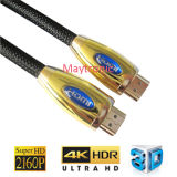 남성 지원 4k/3D에 금속 쉘 HDMI 케이블 남성