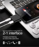 2 dans 1 convertisseur sonore d'adaptateur de foudre de chargeur de Jack pour IOS 7 10.3 compatible positif de l'iPhone 7