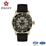 Relógios ocasionais do ouro quente de Rosa do couro genuíno da venda para homens