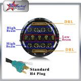 """Aprovaçã0 do SAE E-MARK do PONTO farol para o jipe, 7 de """" farol elevado do diodo emissor de luz de 7 polegadas do diodo emissor de luz do feixe 75W 12V 24V baixo com anel do halo"""