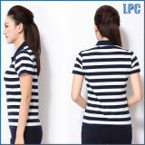 100% algodón Pique Stripe Polo Shrit para las mujeres