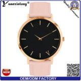 O relógio de pulso do vestido das senhoras do relógio das mulheres do couro genuíno da promoção Yxl-035 projeta o relógio de quartzo da mão