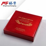 Ретро роскошная коробка монетки MDF лака политуры PU красного цвета