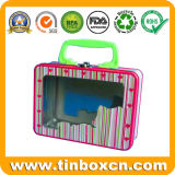 Rechteckiger Mittagessen-Zinn-Kasten mit Plastikgriff und Haken, Metallverpackenkasten für Nahrung und Geschenke, kundenspezifischer Betty-Behälter