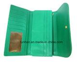 Fold Wallet dell'unità di elaborazione del grano dello struzzo di colore verde della signora/borsa delle donne