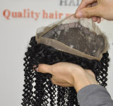 브라질 인간적인 Virgin 머리 22.5 x 4 x 2 고무 밴드 Lbh 188를 가진 실크 비꼬인 꼬부라진 360의 레이스 정면