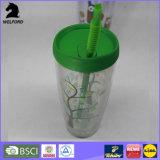 Umweltfreundliche doppel-wandige Plastikflasche mit Stroh