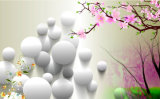 Peinture à l'huile blanche du fond 3D de pierre et de Frangipani TV