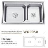 Bacia Wo9050 do dobro do dissipador de cozinha do aço inoxidável