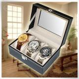 Caixa de relógio personalizada do plutônio grande Mens luxuoso Handmade de couro
