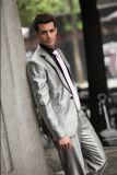 最新の結婚式は顧客用3PCS灰色のコートの動悸の人のスーツを引き起こす
