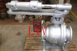 Kogelklep van het pneumatische/Roestvrij staal van de Hefboom de Wafeltje Van een flens voorzien