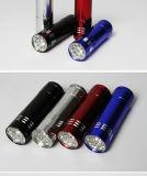 Факел электрофонаря 9 СИД миниый алюминиевый с талрепом