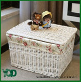 Cover Wicker Basket.를 가진 큰 Quadrate