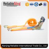 El trinquete cubierto caucho anaranjado de 1.5 pulgadas ata con los ganchos de leva del alambre