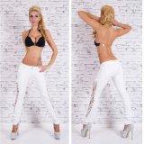 Jeans bassi del merletto di Waisted di misura delle donne dello Spandex scarno sexy del cotone
