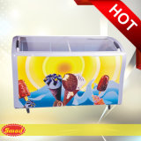 アイスクリームのための曲げられたガラスドアの小型箱のフリーザーを滑らせる商業ポータブル
