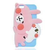 Caja linda del teléfono celular del polluelo del rubor del blanco del conejo del rubor del color de rosa para SE 6 6plus 7 7plus (XSDW-044) del iPhone 5s