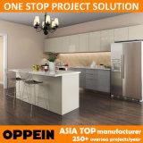 Muebles al por mayor de madera modernos de la cocina del gris HPL con la isla (OP15-HPL03)