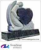 Monumento preto superior do granito com anjo Sculpted feito sob encomenda da mão de vaso do granito